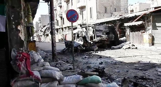 Bombed vehicles in Aleppo, Syria.