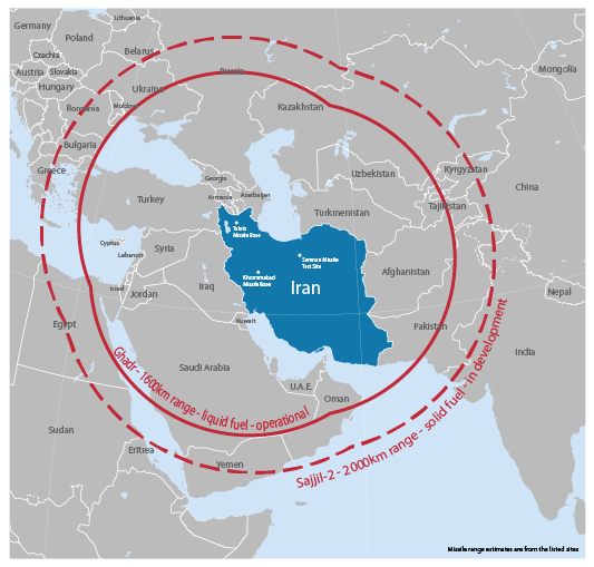 map of reach of Iran's missiles