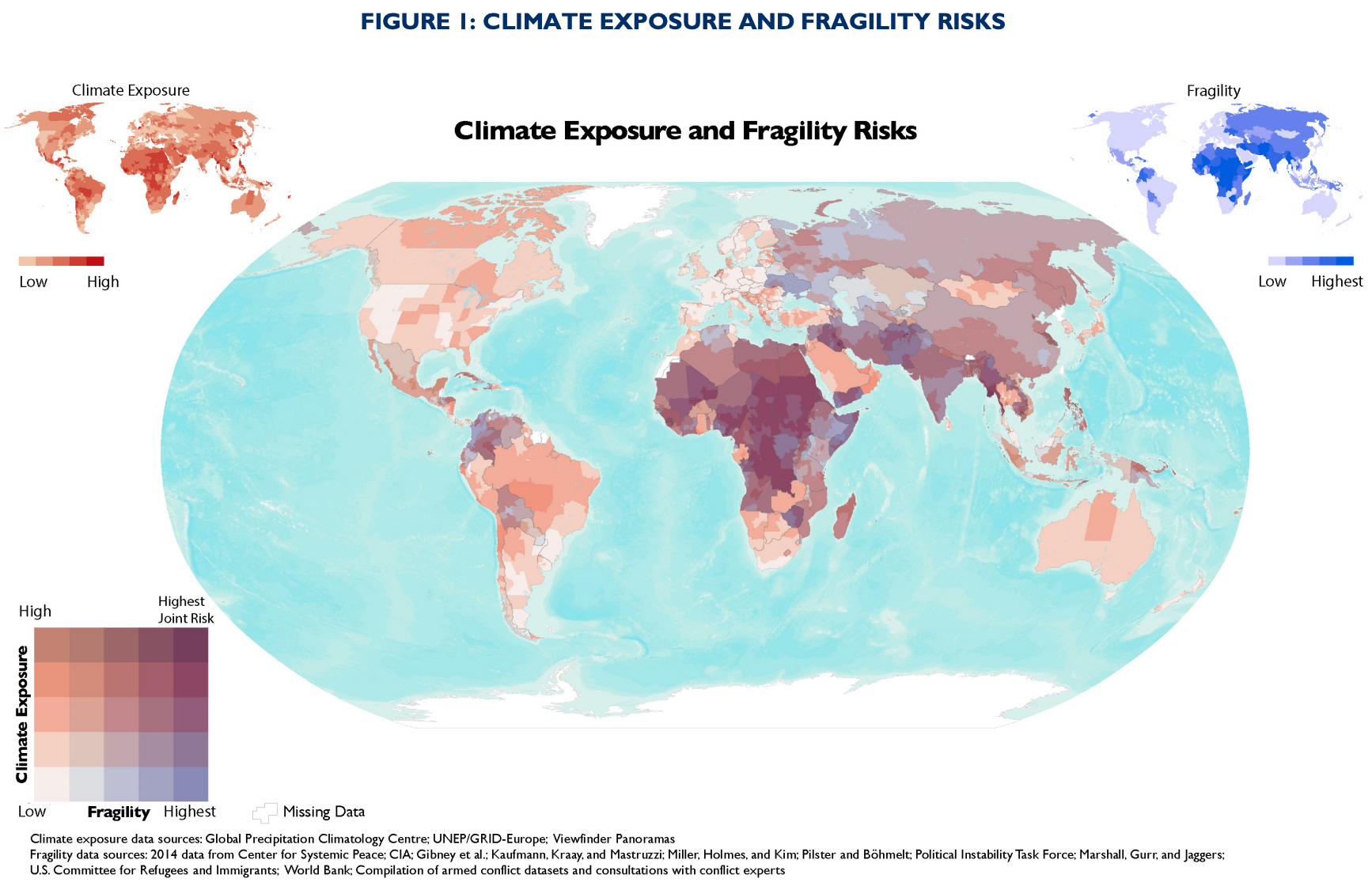 Composite map overlaying climate exposure and political fragility. Source: USAID