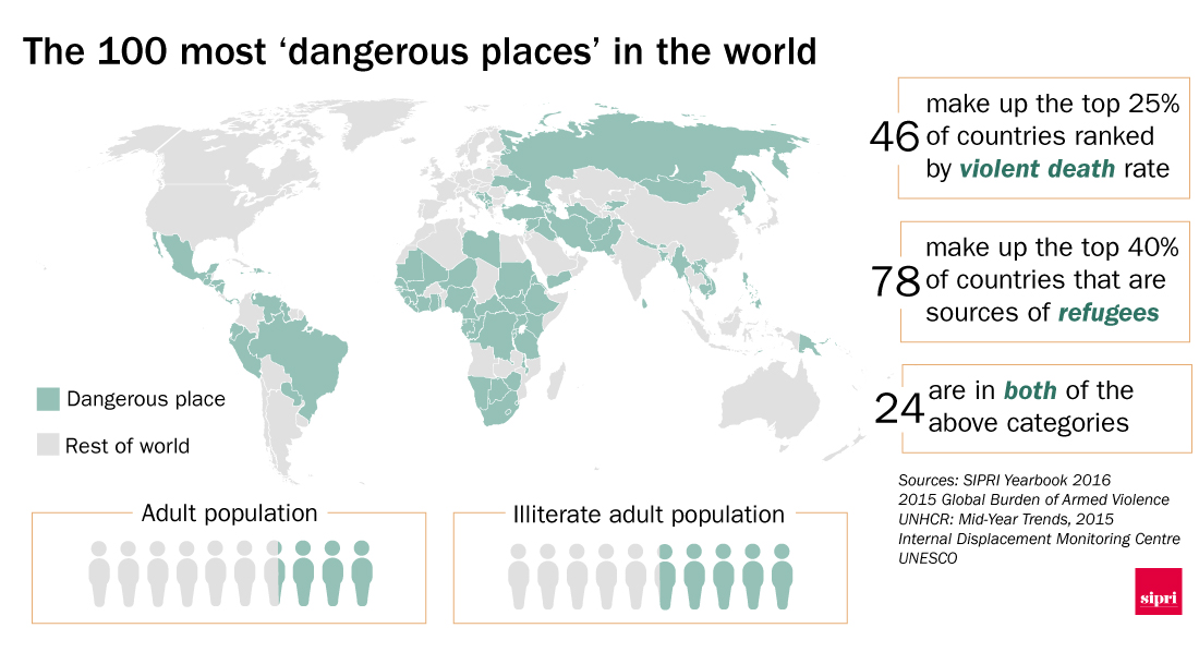 Map showing the 100 most dangerousplaces in the world
