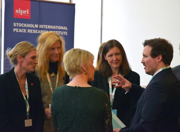 SIPRI researchers speak with Minister for Foreign Affairs Margot Wallström and conference participants at '2019. Capturing technology. Rethinking arms control' in Berlin