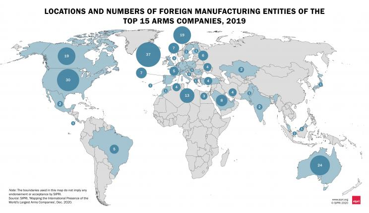 Locations and numbers of foreign manufacturing entities of the Top 15 arms companies, 2019