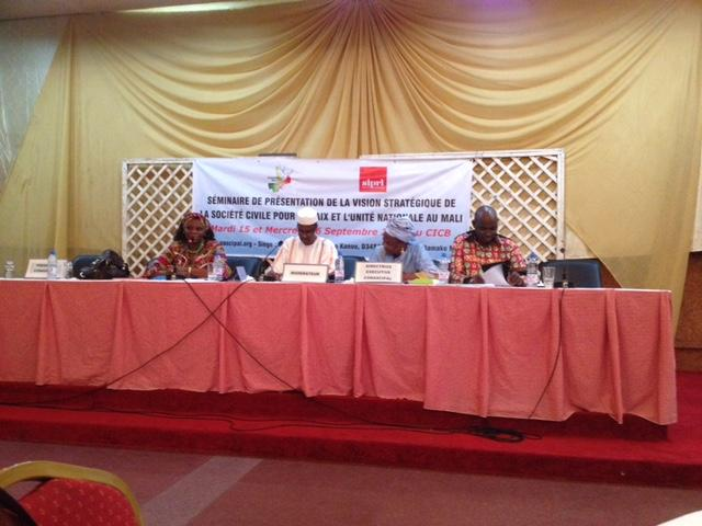15 September 2015: (CONASCIPAL) Launch of strategic vision for civil society contributions to peace and national unity in Mali.