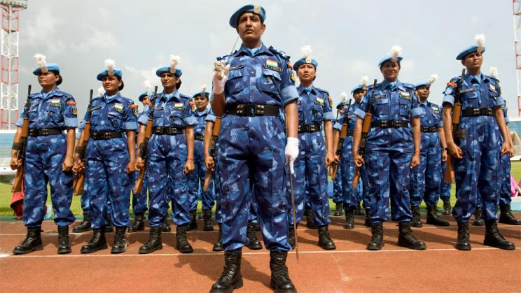 Indian Formed Police Unit participate in a medal parade, 2008.