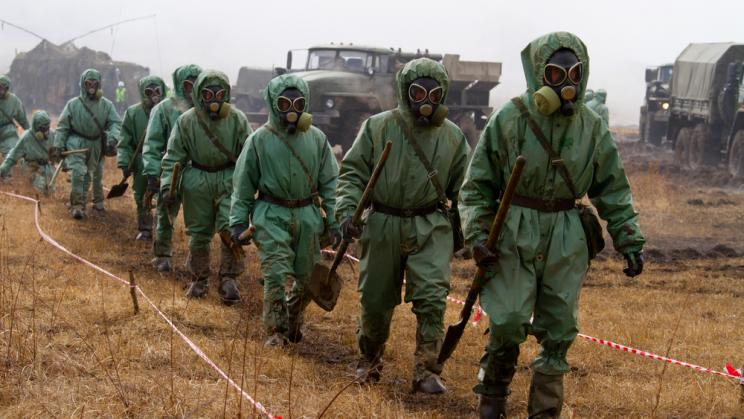 Military exercise for radiation accidents in Bolsoi Kamen, Russia, 2013