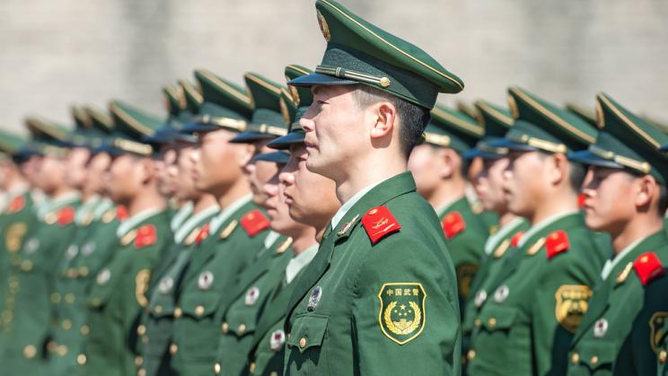 Chinese soldiers during a parade at Tiananmen square Beijing, China in November 2012