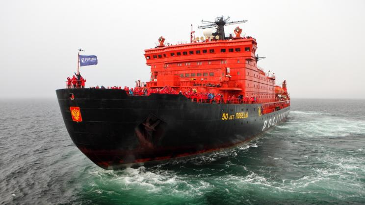 The Russian nuclear-powered icebreaker '50 years of victory' in the Arctic Ocean.