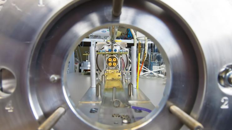 Inside the flight tube of a mass spectrometer, an instrument used in nucler forensics