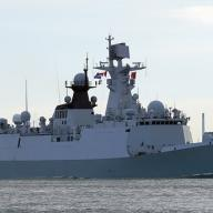 A type 071 (Yuzhao-class) Chinese warfare ship in Rotterdam