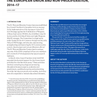 Cover for The European Union Non-proliferation Consortium, 2014–17