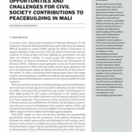 Opportunities and challenges for civil society contributions to peacebuilding in Mali