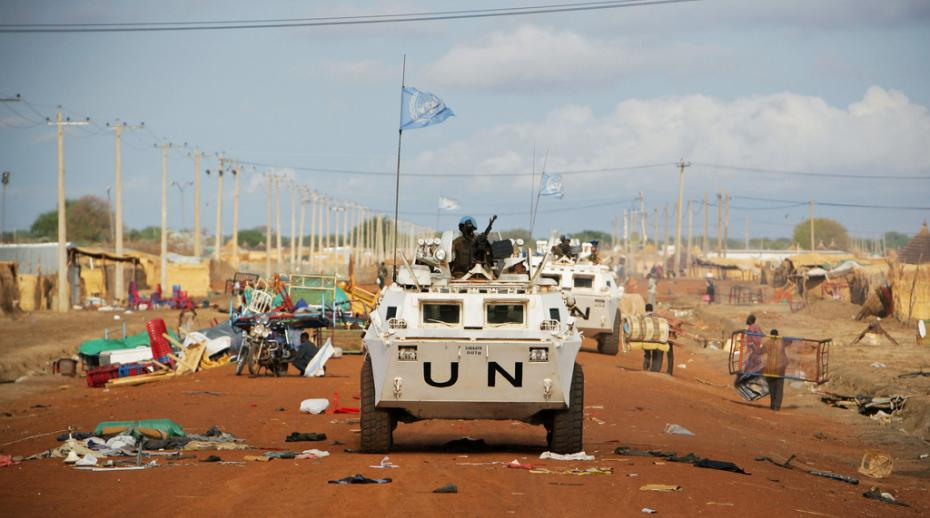 Zambian peacekeepers from the United Nations Mission in Sudan (UNMIS) patrol streets in Abyei on the border of Sudan and South Sudan.