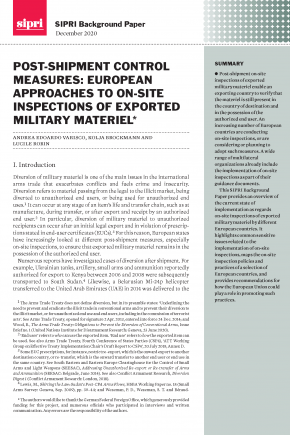Post-shipment Control Measures: European Approaches to On-site Inspections of Exported Military Materiel