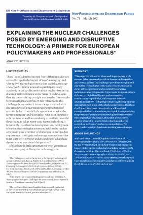 Explaining the Nuclear Challenges Posed by Emerging and Disruptive Technology: A Primer for European Policymakers and Professionals
